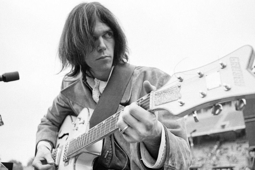 Download Wallpaper 1920x1080 Neil young, Guitar, Hair, Microphone .