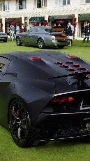 Lamborghini Sesto Elemento, Matte, Black, Back View, Supercar, Cars