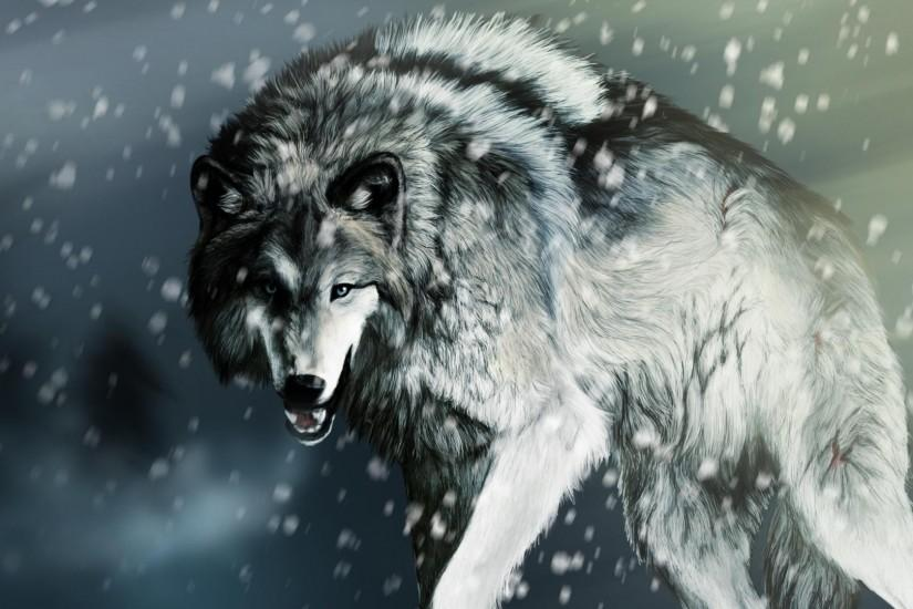 White Wolf Snow Pictures HD Wallpaper of Animals - hdwallpaper2013.com