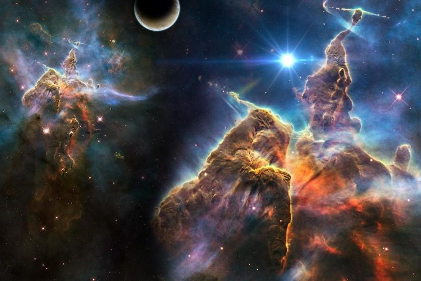Preview wallpaper universe, stars, planets, nebulae, debris 1920x1080