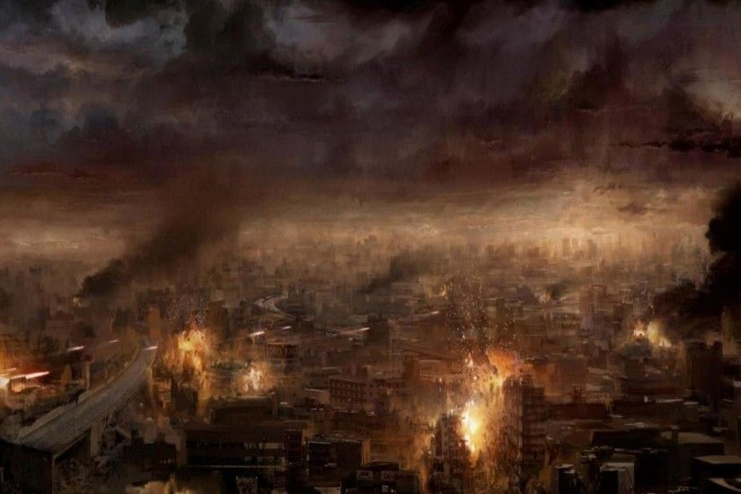 1920x1080 Ruins Burning City Apocalypse Artwork HD Wallpaper #108667 -  Image Hosting