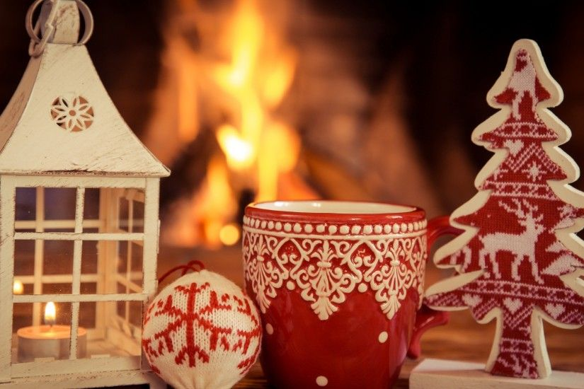 christmas decorations house lantern fireplace red cup pine tree wool  snowflake full hd wallpaper desktop background