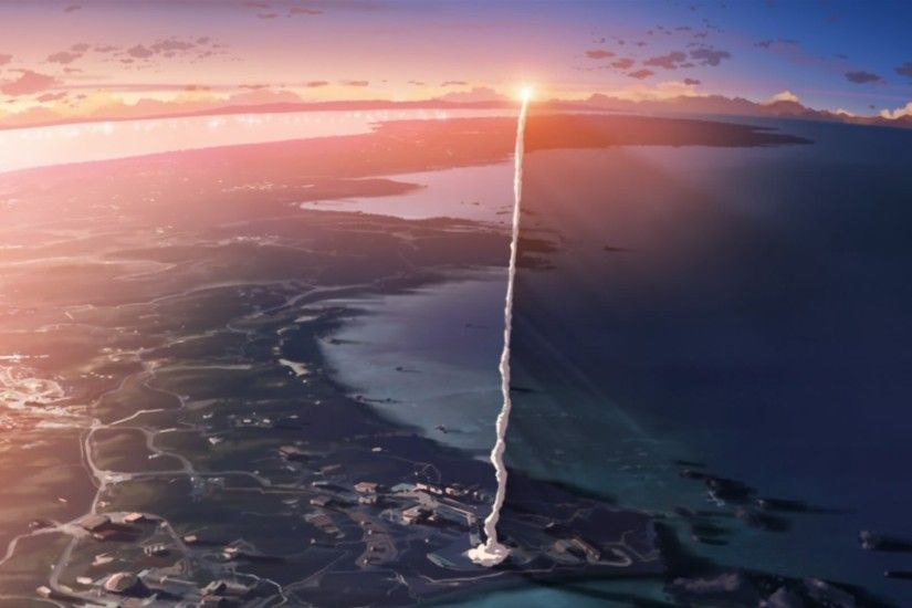 Anime - 5 Centimeters Per Second Anime Sunset Rocket Smoke Wallpaper