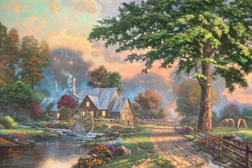 Thomas Kinkade Christmas Cottage Wallpaper
