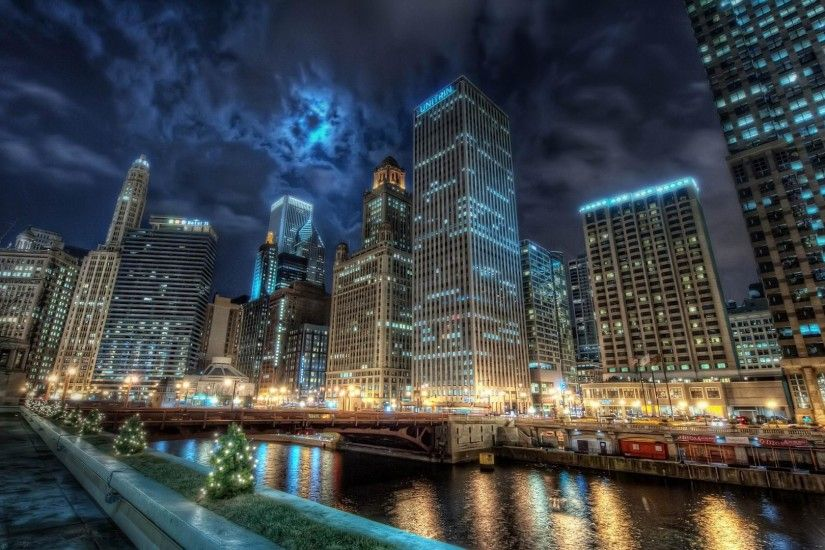 Chicago cityscape at night HDR wallpaper