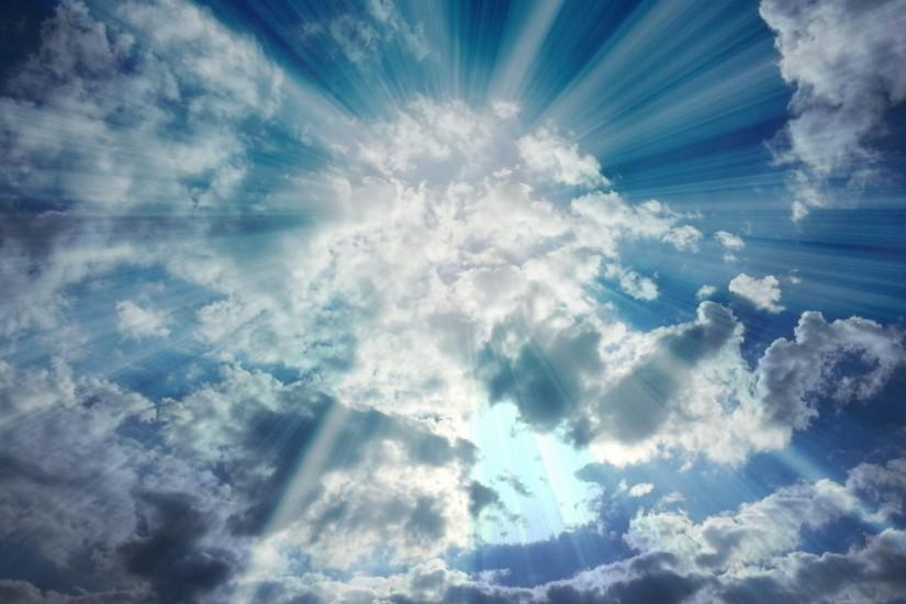 Heavenly Sun Rays Holy Appearance Sunbeams Clouds Sky Desktop Background  Images - 1920x1080