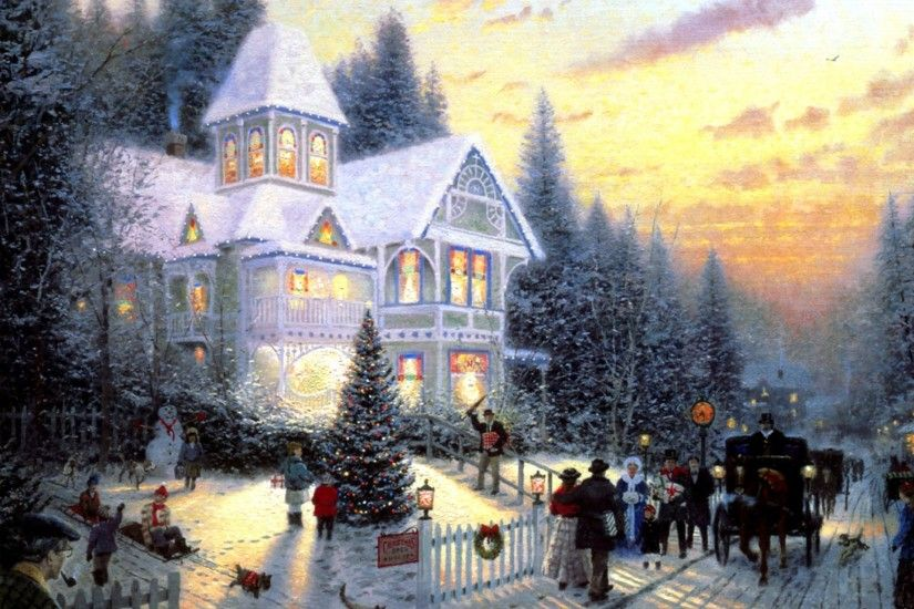Wallpaper - Free Holiday wallpaper - Christmas Eve Painting wallpaper .