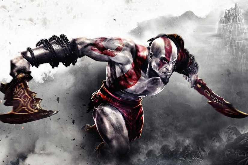 Kratos fighting in God of War 3