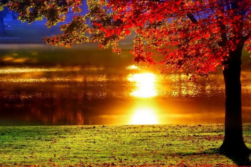 Autumn Sunset Lake