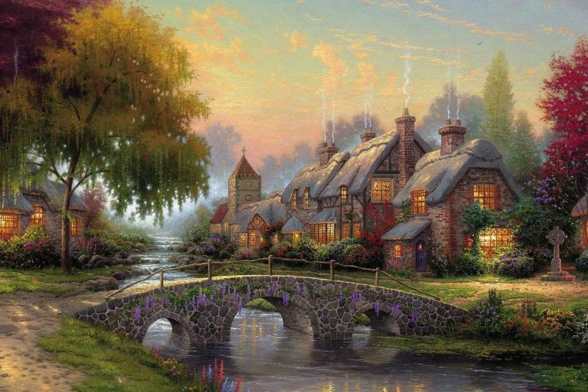 Beautiful landscape with stone houses and a bridge wallpaper