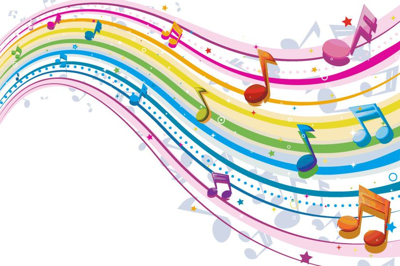 Backgrounds For > Colorful Musical Notes Wallpaper