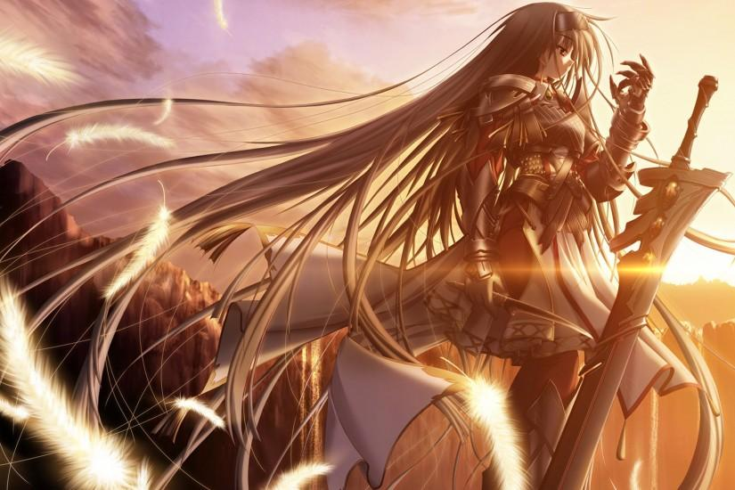 Purple Software Primitive Link Sione Wallpaper angel armor dagger feather  Gauntlets sun sunset warrior Pictures and Images. Anime Warrior Girl ...