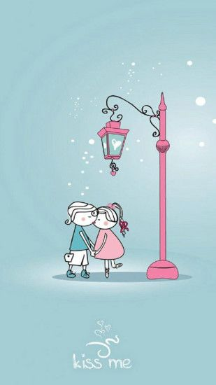Cute Lover Couple Under Streetlight iPhone 6 Wallpaper Download