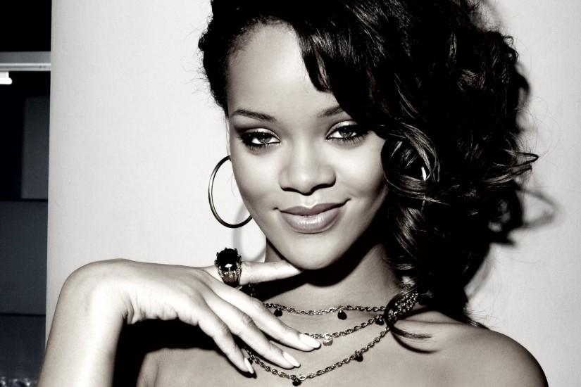 Preview wallpaper rihanna, girl, hair, singer, black and white 1920x1080