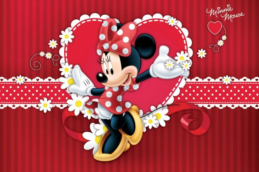 Lovely minnie mouse in red dress wallpapers.