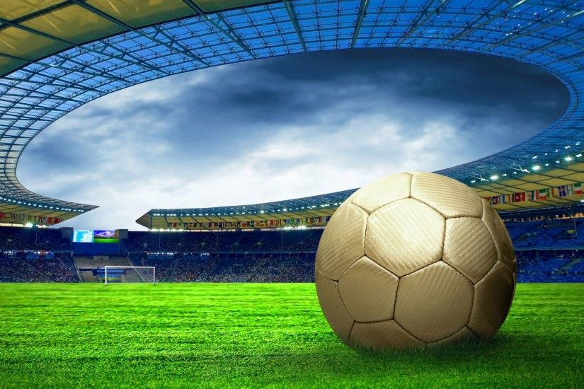 Soccer ball on the field wallpapers and stock photos