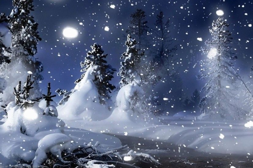 Nature-landscapes-christmas-trees-forest-snowing-snowflakes-winter-