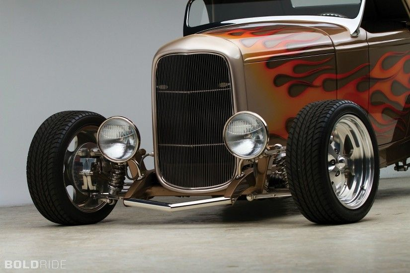 1932 Ford Custom High Box Roadster retro classic hot rod wallpaper .
