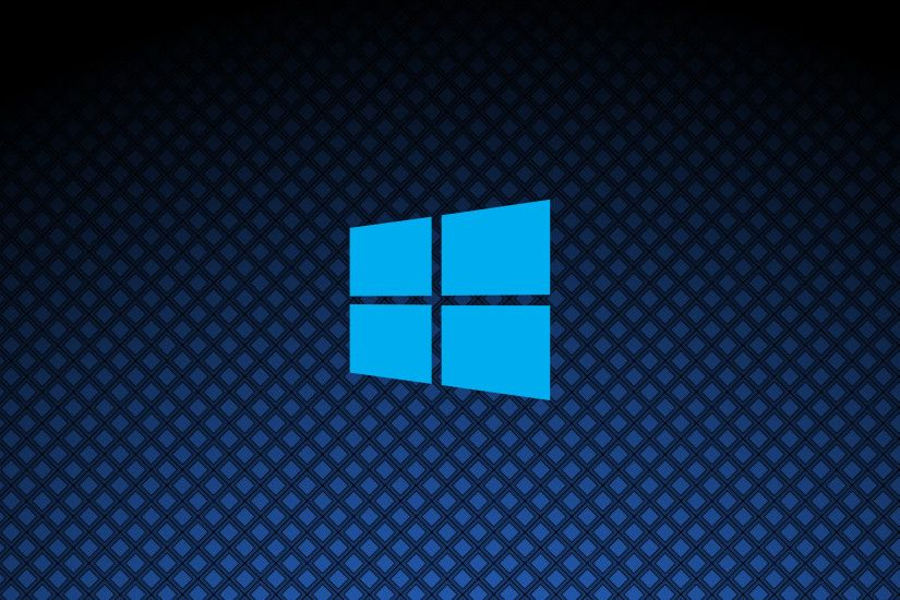 Windows 10 on square pattern simple blue logo [2] wallpaper