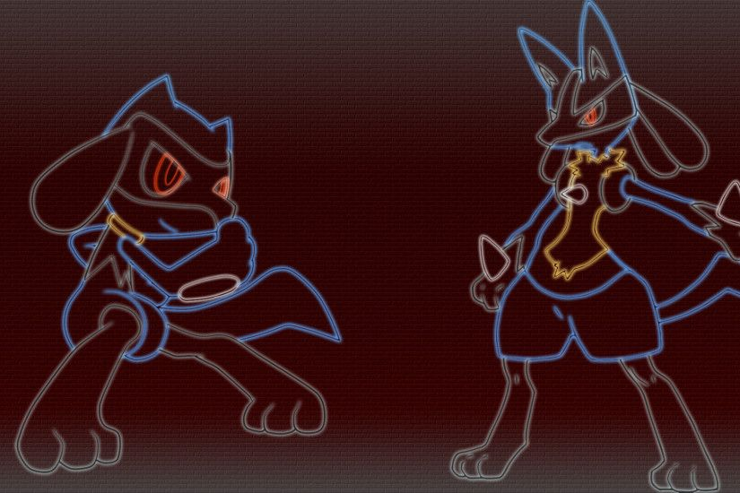 riolu and lucario comic | Riolu and lucario neon wallpaper by gturbo D S Mx