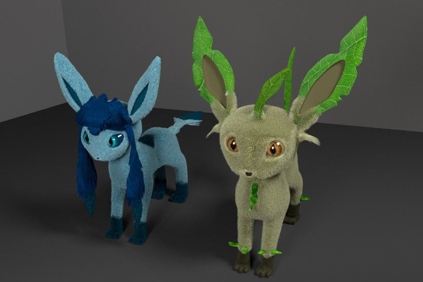 Leafeon and Glaceon 3D by alewism