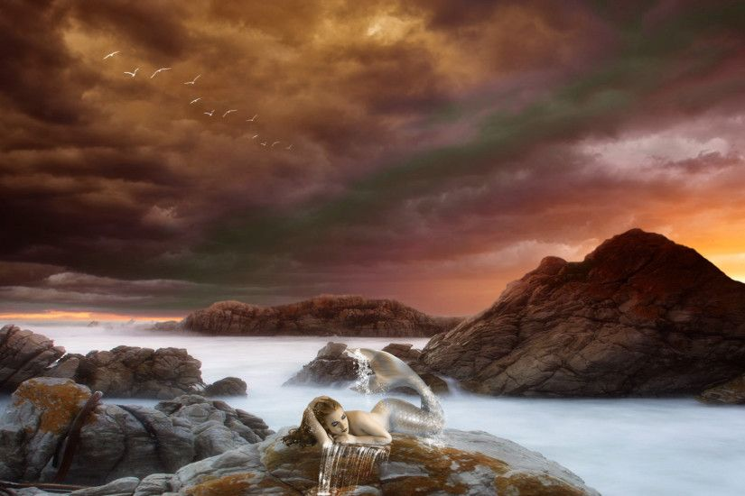 backgrounds, women, rocks, sunset, babes, stone, sunsrise, art, females,  ocean, mood, sexy, sea, clouds,mermaid, rivers, art, fantasy, sky digital,  cg, ...