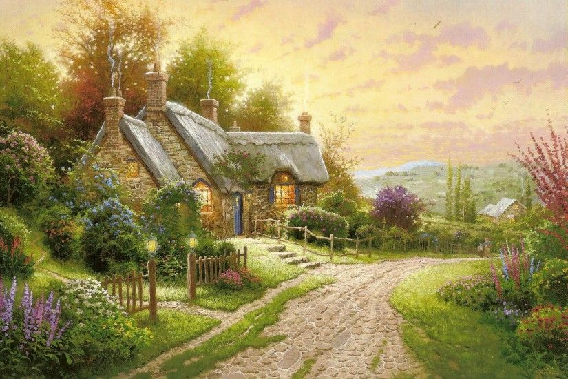 thomas kinkade summer cottage house flower road night pattern painting