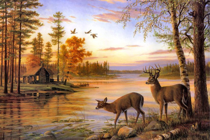 Two Deer Drink Water On The River When Sunset