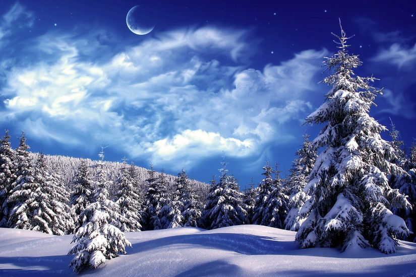 Snowy Winter Scenes Wallpaper | Snowy wonderland, mountain, scene, sky, snow ,