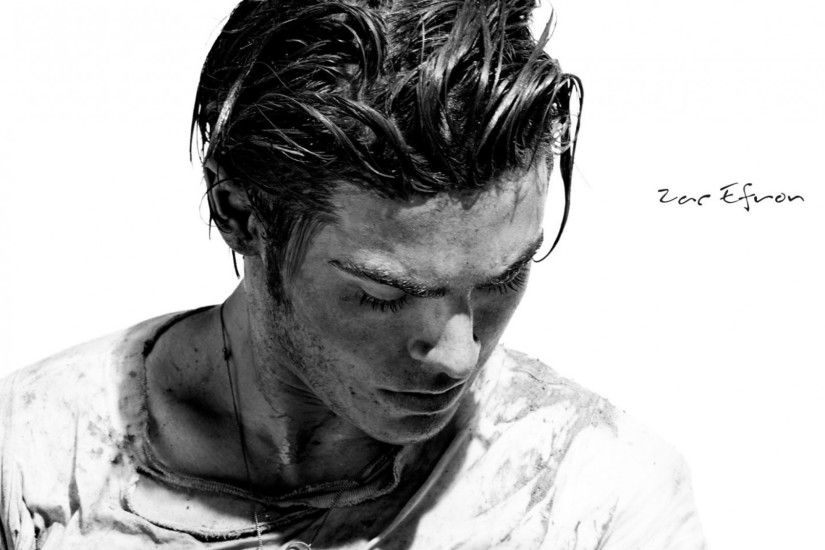 Preview wallpaper zac efron, actor, black and white, male, man, look