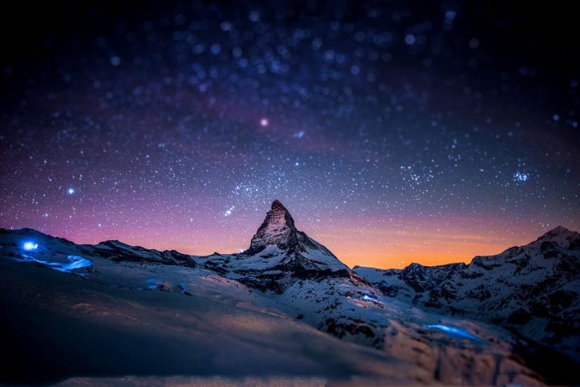 ... Stars and snow night in the Alps tablet wallpaper ...