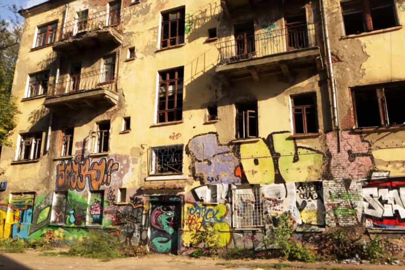 Abandoned house with graffiti in the urban ghetto. Pano shot Stock Video  Footage - VideoBlocks