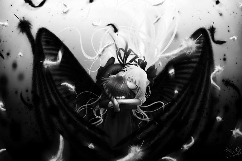 Anime Boy Air Monochrome Angel Black Cute Girl Kamio 1033546 Wallpaper  wallpaper