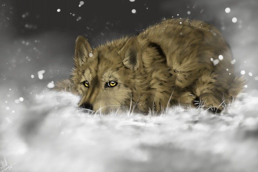 painted, animals, painting, snow, wolves, wolf :: Wallpapers