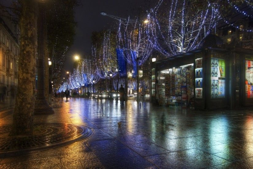 Night in the streets of paris hdr wallpaper