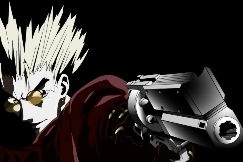 Trigun, Vash The Stampede, Gun, Glasses, Machine Gun, Futuristic .