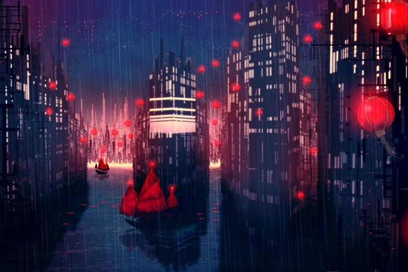 Artwork Buildings Cityscapes Rain Ships hd wallpaper by chococruise. Rainy  City Night Anime ...