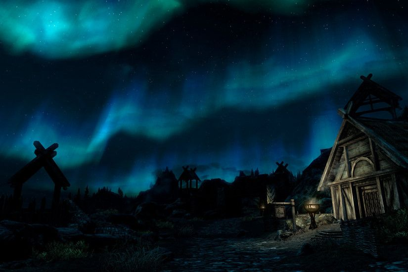 Aurora Borealis Northern Lights Night Skyrim Elder Scrolls Stars wallpaper  | 1920x1080 | 132906 | WallpaperUP