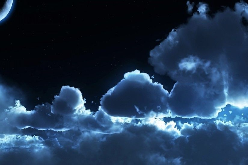 3840x2160 Wallpaper sky, night, clouds, air, stars, moon, tranquillity