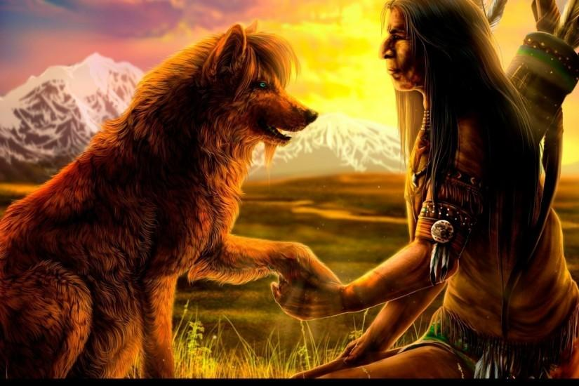Native Americans | Native American with a wolf wallpaper 1280x800 Native  American with a .