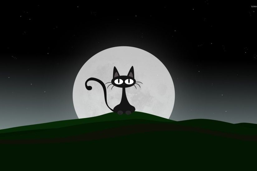 Black cat on a beautiful night with full moon wallpaper