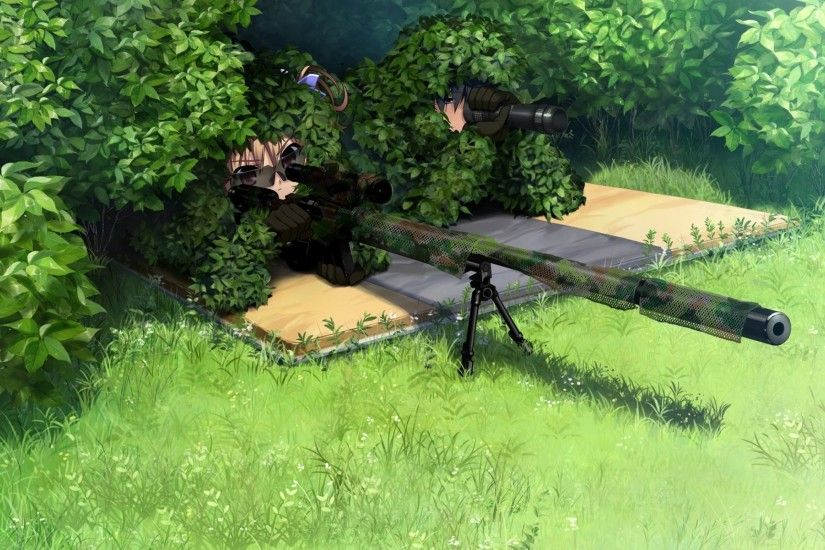 snipers weapons sniper rifles camouflage anime ghillie suit 2048x1152  wallpaper Art HD Wallpaper