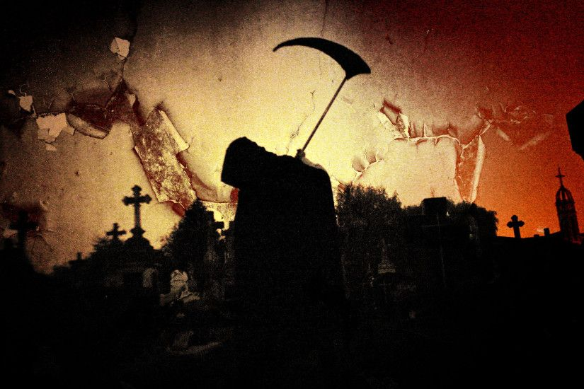 Dark Grim Reaper Horror Skeletons Skull Creepy Cemetary Cross Gothic  Wallpaper At Dark Wallpapers