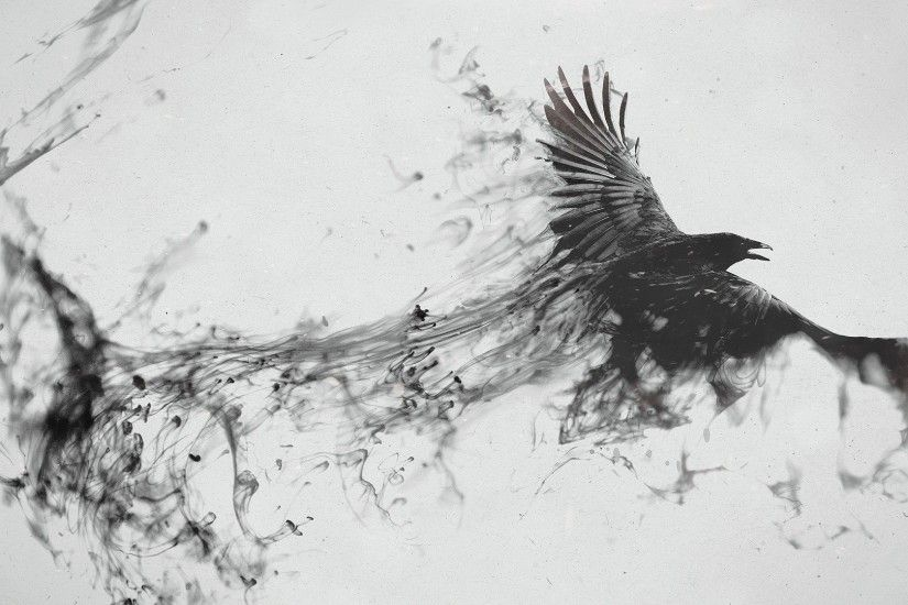 Preview wallpaper raven, bird, flying, smoke, black white 1920x1080