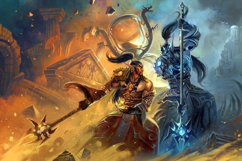 Video Game - World Of Warcraft Sorcerer Warrior Mage Wizard Magic Wallpaper