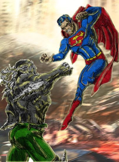 ... Superman Vs Doomsday Colour with Background by ModernDayDandy