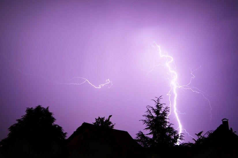 Preview wallpaper lightning, elements, category, sky, lilac 2560x1440