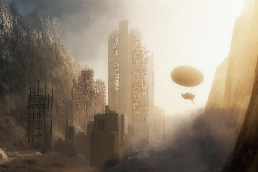 Sci Fi - Post Apocalyptic - Sand - City - Space - Alien - Steampunk  Wallpaper