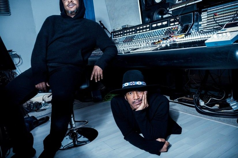 Jarobi White, left, and Q-Tip at Q-Tip's home recording studio in New  Jersey. Credit Chad Batka for The New York Times