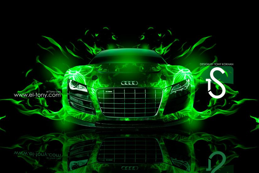... Audi-R8-Green-Fire-Car-Abstract-2013-HD- ...